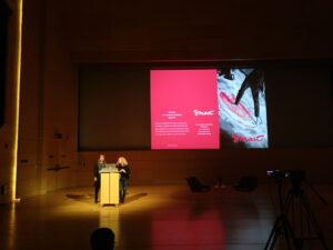 Lisa Pointner and Sabine Kock presenting at the Platform Coops conference 2019, New School NY
