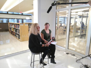 Lisa Pointner and Sabine Kock at an interivew at the Platform Coops conference 2019, New School NY